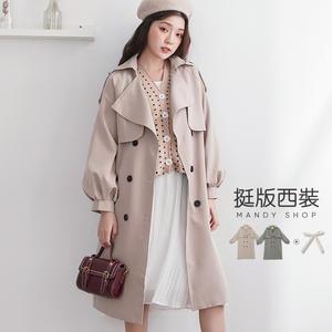 【MS0238】氣質翻領雙排釦澎澎袖風衣外套