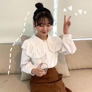 短袖襯衣 女裝韓版氣質蕾絲邊娃娃領白襯衫學生休閒打底衫內搭襯衣上衣 LOLITA