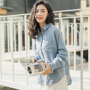 襯衫 簡約反褶袖棉麻襯衫上衣 日系 【88-12-8303-1820-18】ibella 艾貝拉