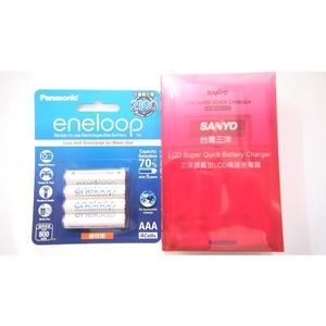 全館免運費【電池天地】SANLUX 三洋LCD極速充電器 SYNC-LS01+國際牌eneloop 4號鎳氫低自放充電電池(4入)