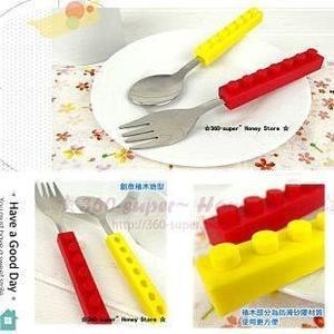【發現。好貨】創意家居 樂高積木系列 叉勺/湯匙 餐具套装 兒童餐具 環保餐具