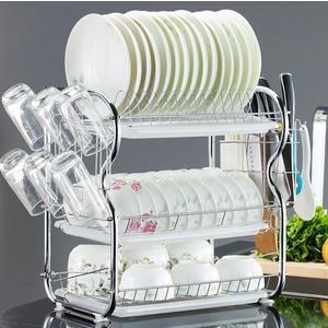 三層廚房置物架兩層瀝水碗碟架放碗筷瀝水架碗架收納架子碗盤用品【星時代女王】