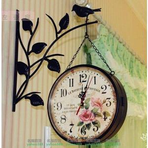 不二歐式田園復古鐵藝壁式雙面掛鐘裝飾小鳥超靜音韓式雙面鐘藝術MY~395