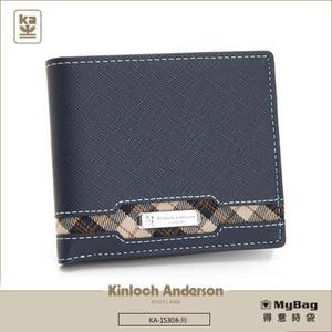 Kinloch Anderson 金安德森 皮夾 英雄Legend 深藍 男用短夾 左右翻固定頁 KA153002 MyBag得意時袋