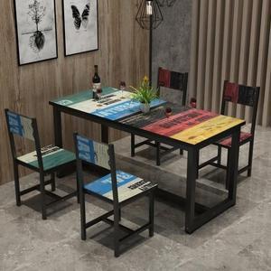 餐桌食堂餐桌小吃店快餐桌小吃桌椅一桌四椅組合吃飯桌簡約長方形【快速出貨八五折】JY