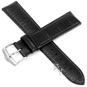 【台南 時代鐘錶 海奕施 HIRSCH】複合式橡膠錶帶 Paul M 皮革壓紋 黑色 附工具 0925028150 OMEGA錶帶
