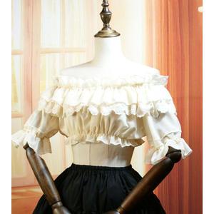日繫lolita洋裝軟妹打底衣雪紡一字領內搭復古蕾絲短袖女襯衫夏新【元氣少女】
