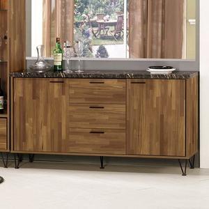 【森可家居】洛爾納5.2尺石面收納櫃 8CM922-1 餐櫃 廚房櫃 中島 碗盤碟櫃 木紋質感 工業風