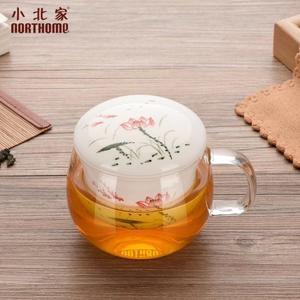 茶杯 耐熱玻璃杯加厚三件式透明花茶杯陶瓷泡茶杯過濾-凡屋