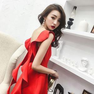 店長推薦★晚禮服裙女洋裝小禮服短款敬酒服紅色連身裙