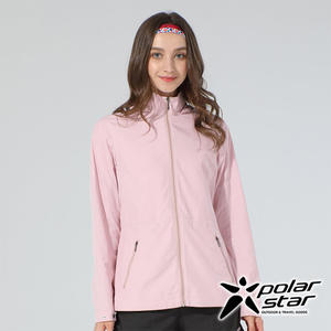 PolarStar 女 休閒抗UV連帽外套『淺粉紅』P20110 戶外 休閒 露營 防曬 透氣 吸濕 排汗 彈性 抗紫外線