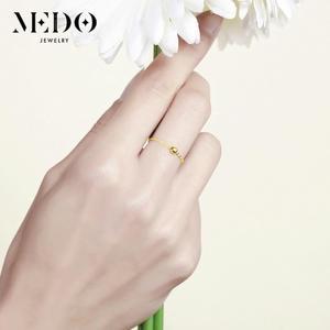 18K金轉運珠戒指女玫瑰金鍊條式軟戒黃金指環食指彩金750關節尾戒