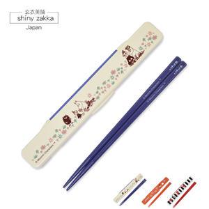 環保餐具-日本製MOOMIN嚕嚕米翻蓋式隨身環保筷子-紫色-玄衣美舖