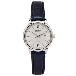 SEIKO 文青風采款的皮革手錶(SUR645P1)-銀面X黑色/30mm