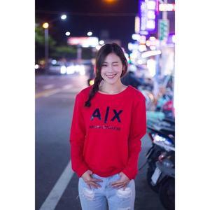 【蟹老闆】AX ARMANI EXCHANGE 女大學T 黑膠印字 紅色