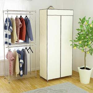 [客尊屋]粗管雙層防塵衣櫥46X91X210H超堅固多功能鍍鉻(含布套)/鍍鉻層架/波浪層架/衣服收納櫃