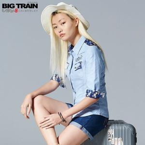 BigTrain素色牛津配花布女襯衫-女-淺藍-S.M.L
