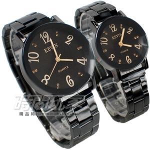KEVIN 情人對錶 數字晶鑽時刻 學院風 立體多角切割鏡面 防水錶 IP黑電鍍 KV2068鑽數大+KV2068鑽數小