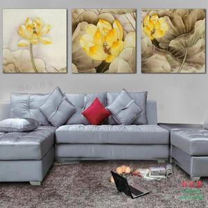 無框畫裝飾畫客廳沙發背景餐廳臥室中國風三聯如意金蓮花
