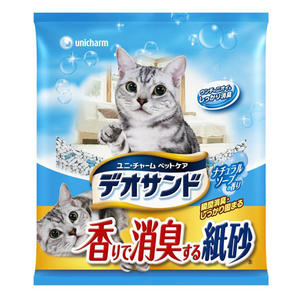 PetLand寵物樂園《日本Unicharm嬌聯》消臭香味紙砂 (肥皂香) - 5L / 環保貓砂可沖馬桶