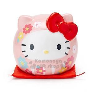 〔小禮堂〕Hello Kitty 達摩造型陶瓷存錢筒《粉》擺飾.撲滿.儲金筒.金豬報喜系列 4901610-25557