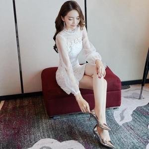 晚宴禮服一字肩洋裝秋裝女2019新品性感小心機裙子設計感白色小禮服冬季「名創家居生活館」