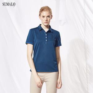 【ST.MALO】台灣製夏日炫彩咖啡紗除臭女POLO衫-1878WP-鳶尾藍