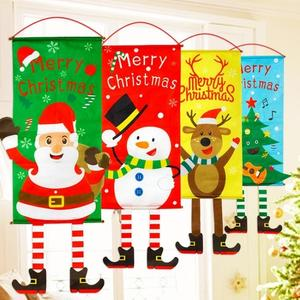 聖誕節裝飾 圣誕節裝飾品創意掛布麋鹿圣誕老人海報掛旗掛飾吊旗吊飾場景布置 宜品