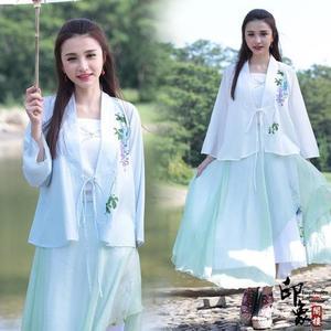 刺繡上衣漢服民族風女復古印花雪紡禪茶服寬鬆古改良長袖漢服上衣 週年慶降價