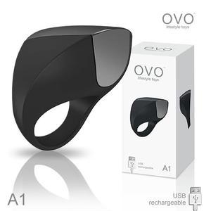 震動環 情趣用品德國OVO A1 時尚男性 矽膠靜音時尚震動環 充電式 黑色