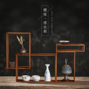 現代簡約茶具架小博古架多寶閣實木中式茶壺架茶葉展示架置物架子