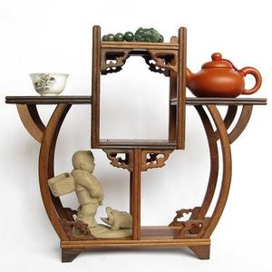 紅木中式博古架 實木紫砂茶壺架子擺架 雞翅木置物架展示架擺件