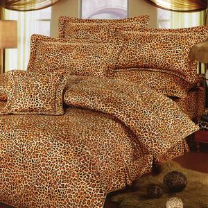 台灣製-野性豹紋 單人(3.5x6.2呎)五件式鋪棉床罩組-咖啡色[艾莉絲-貝倫]T5H-791-CF-S