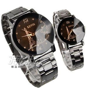 KEVIN 數字晶鑽時刻 情人對錶 休閒風格 立體多角切割鏡面 IP黑電鍍 KV20鐵塔黑大+KV20鐵塔黑小