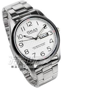 OMAX 時尚城市 數字圓錶 不銹鋼帶 白色男錶 OMAX4013M白字