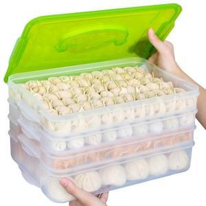金豬迎新 餃子盒凍餃子多層速凍水餃餛飩冷凍大號家用托盤冰箱保鮮收納盒