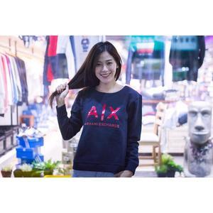 【蟹老闆】AX ARMANI EXCHANGE 女大學T 紅膠印字 深藍色