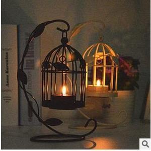 歐式樹葉鳥籠燭台 家居擺件創意禮品 復古蠟燭台 鐵藝工藝【限時八五折】