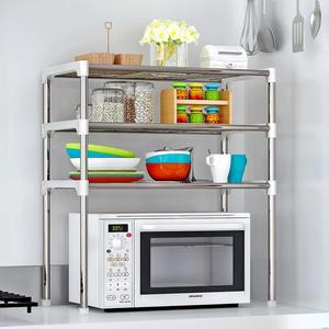 微波爐置物架餐具架大號實用鐵藝落地廚房浴室層架微波爐置物架wy