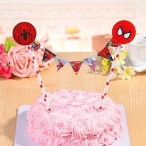 【發現。好貨】兒童生日派對裝飾生日蛋糕插旗拉旗拉花裝扮用品 婚禮裝飾 野餐派對【蜘蛛人】