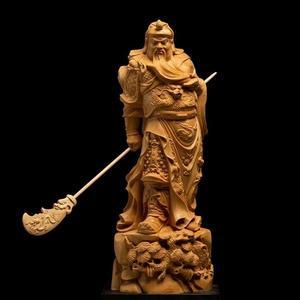 黃楊木雕關公 風水鎮宅佛像擺件雕刻工藝品武財神橫刀關二爺
