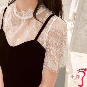 蕾絲上衣 蕾絲打底衫女夏短袖內搭鏤空吊帶裙外搭短款透明薄紗透視紗網上衣
