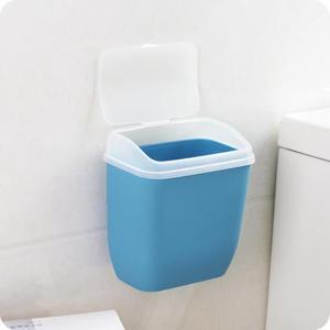 收納桶 無痕貼壁掛式塑料垃圾桶創意廚房衛生間帶蓋垃圾桶雜物收納小桶