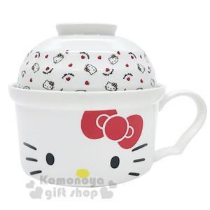 〔小禮堂〕Hello Kitty 陶瓷單耳碗蓋湯杯《紅白.大臉》泡麵碗.碗公 4713218-89308
