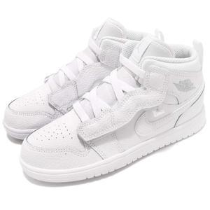 Nike Air Jordan 1 Mid ALT PS 白 全白 彈性繃帶 魔鬼氈 AJ1 中筒 童鞋 中童鞋【PUMP306】 AR6351-109