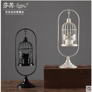創意家居鐵藝燭台裝飾品 歐式複古掛式風燈鳥籠燭台