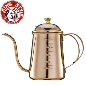 金時代書香咖啡 Tiamo 滴漏式細口壺0.7L(附刻度標) 玫瑰金 SGS檢驗合格
