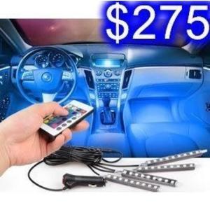 車用七彩防水燈條 點菸器一拖四LED燈條 5050RGB 送遙控器 車內裝飾燈條 E-26
