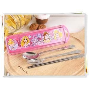 迪士尼公主系列 3合1不鏽鋼餐具組 038083公主 不鏽鋼 叉子 湯匙 筷 奶爸商城
