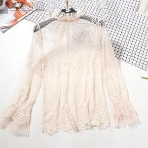 蕾絲內搭上衣-長袖立領柔軟蕾絲內搭打底衫女少女蕾絲夜衣鏤空透視網紗套頭上衣